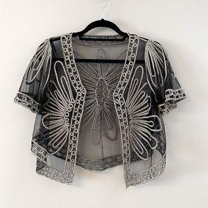 Vintage Shrug Black Lace & Cream Embroidery
